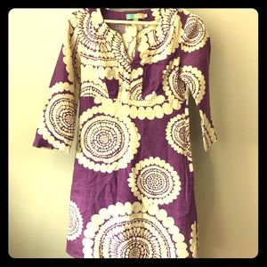 Boden Purple and White Dress